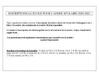 modalités inscription école 2020-2021