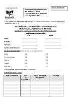 Fiche de renseignements pour une aide du CCAS de Landudal au titre de la cantine et de la garderie 2021