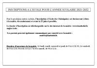 modalités inscription école 2021-2022